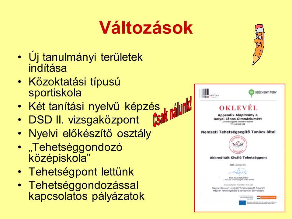 Változások •Új tanulmányi területek indítása •Közoktatási típusú sportiskola •Két tanítási nyelvű képzés •DSD II. vizsgaközpont •Nyelvi előkészítő osz