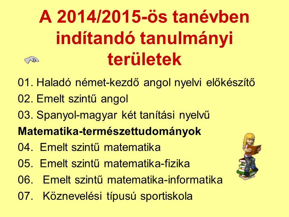 A 2014/2015-ös tanévben indítandó tanulmányi területek 01. Haladó német-kezdő angol nyelvi előkészítő 02. Emelt szintű angol 03. Spanyol-magyar két ta