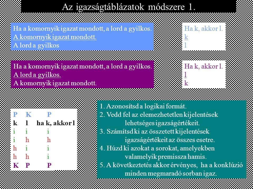 k l i i h h i h k l ha k, akkor l i i i i h h h i i h h i Az igazságtáblázatok módszere 1.
