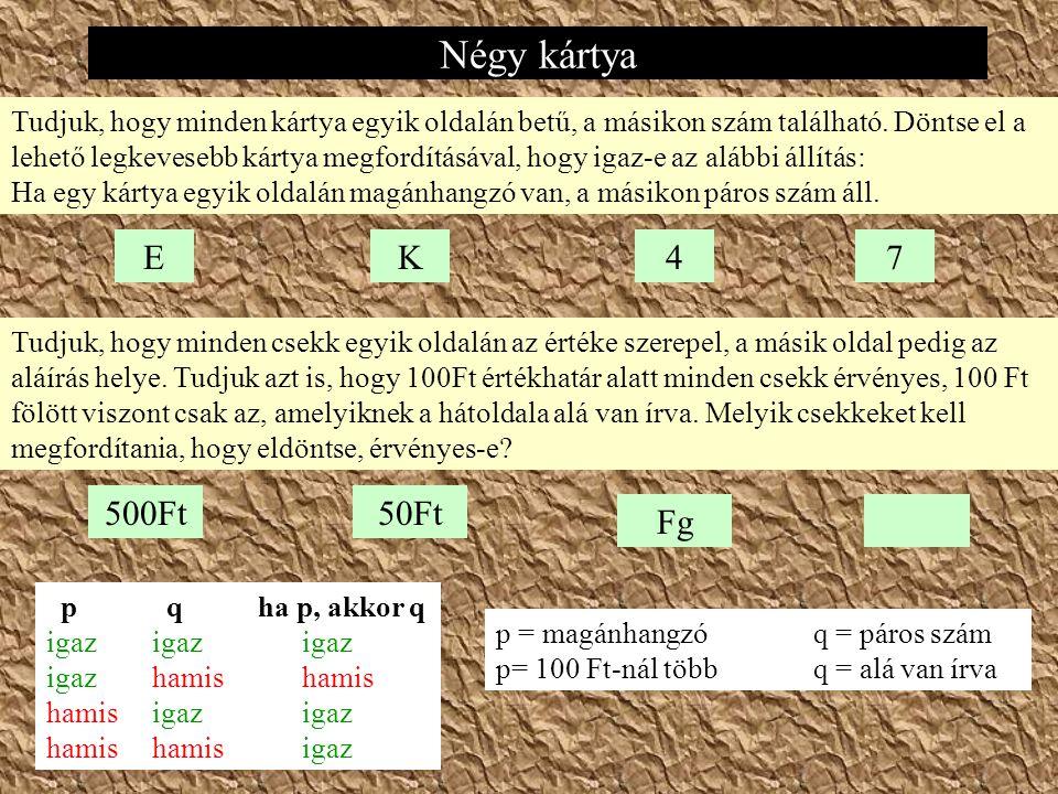 Négy kártya EK47 Tudjuk, hogy minden kártya egyik oldalán betű, a másikon szám található.