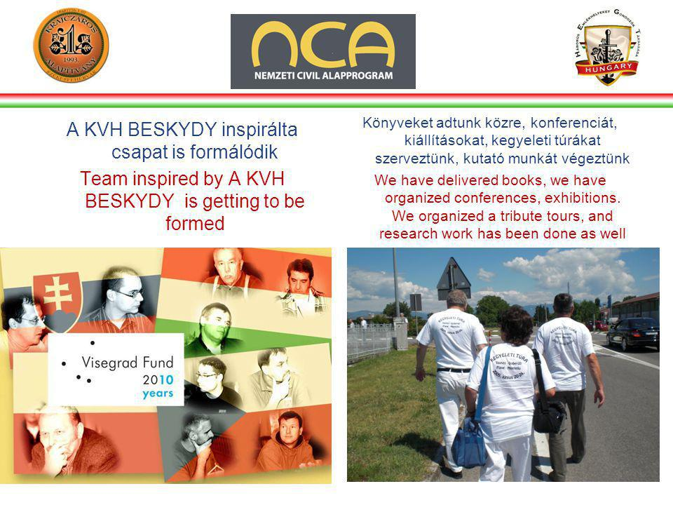 A KVH BESKYDY inspirálta csapat is formálódik Team inspired by A KVH BESKYDY is getting to be formed Könyveket adtunk közre, konferenciát, kiállításokat, kegyeleti túrákat szerveztünk, kutató munkát végeztünk We have delivered books, we have organized conferences, exhibitions.