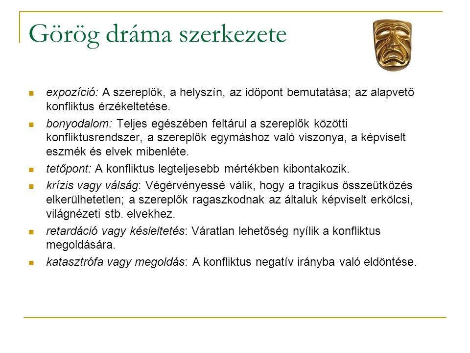 Görög dráma szerkezete  expozíció: A szereplők, a helyszín, az időpont bemutatása; az alapvető konfliktus érzékeltetése.  bonyodalom: Teljes egészéb