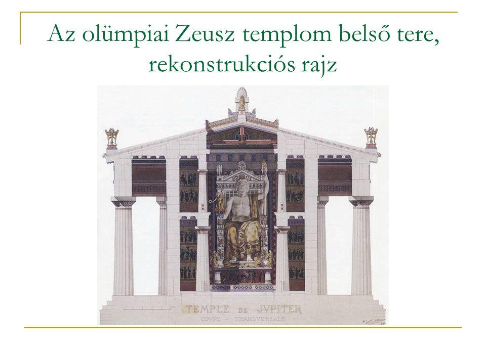 Az olümpiai Zeusz templom belső tere, rekonstrukciós rajz