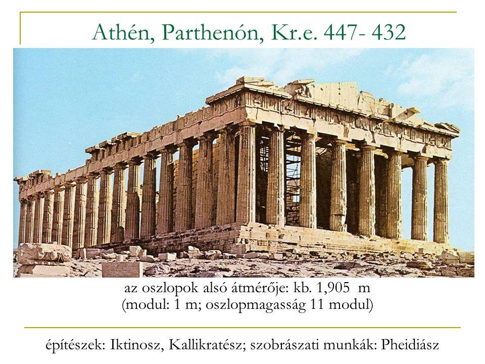 Athén, Parthenón, Kr.e. 447- 432 az oszlopok alsó átmérője: kb. 1,905 m (modul: 1 m; oszlopmagasság 11 modul) építészek: Iktinosz, Kallikratész; szobr