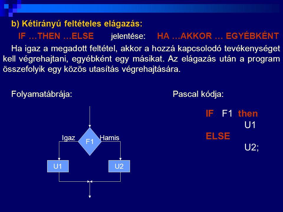Ha az F1 feltétel igaz, akkor az U1 tevékenység kerül végrehajtásra, egyébként (ha F1 hamis) az U2.