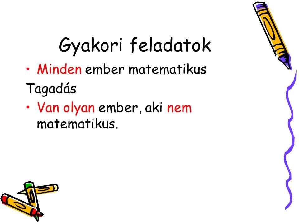 Gyakori feladatok •Minden ember matematikus Tagadás •Van olyan ember, aki nem matematikus.