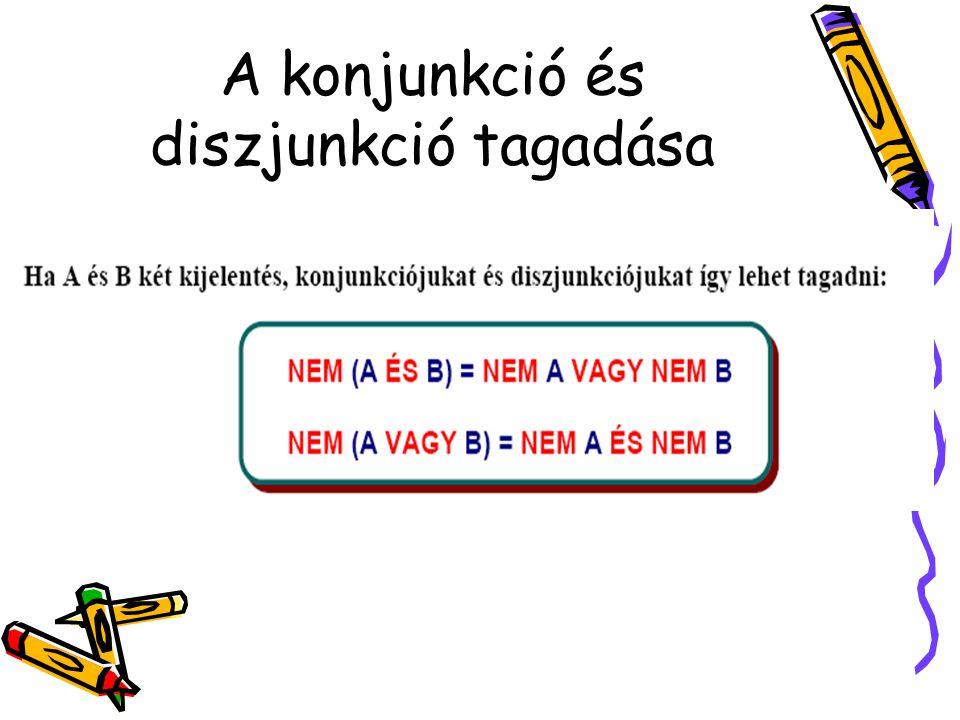 A konjunkció és diszjunkció tagadása