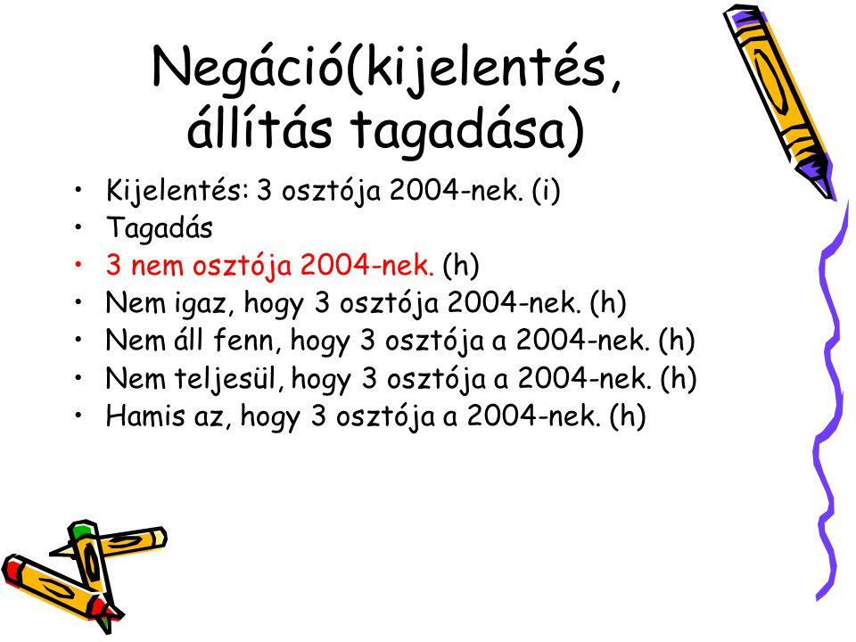 Negáció(kijelentés, állítás tagadása) •Kijelentés: 3 osztója 2004-nek. (i) •Tagadás •3 nem osztója 2004-nek. (h) •Nem igaz, hogy 3 osztója 2004-nek. (