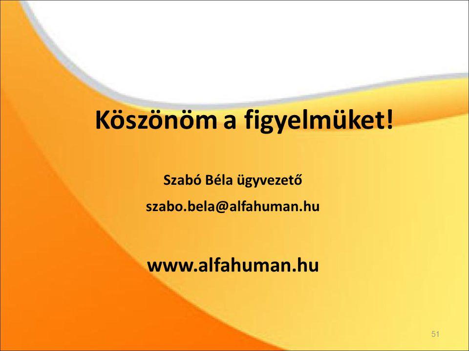 Köszönöm a figyelmüket! Szabó Béla ügyvezető szabo.bela@alfahuman.hu www.alfahuman.hu 51