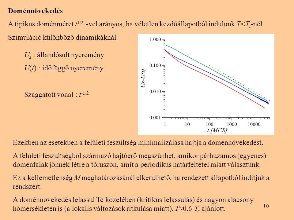 16 Doménnövekedés A tipikus doménméret t 1/2 -vel arányos, ha véletlen kezdőállapotból indulunk T<T c -nél Szimuláció különböző dinamikáknál Ezekben a