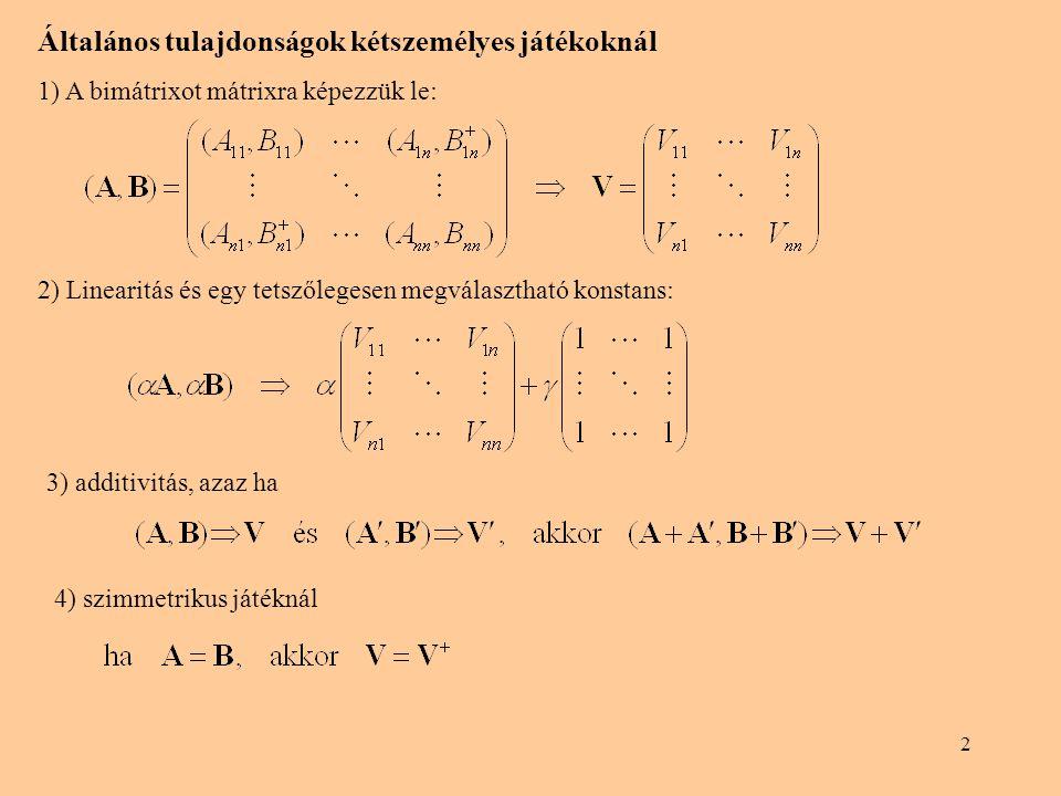 2 Általános tulajdonságok kétszemélyes játékoknál 1) A bimátrixot mátrixra képezzük le: 2) Linearitás és egy tetszőlegesen megválasztható konstans: 3)
