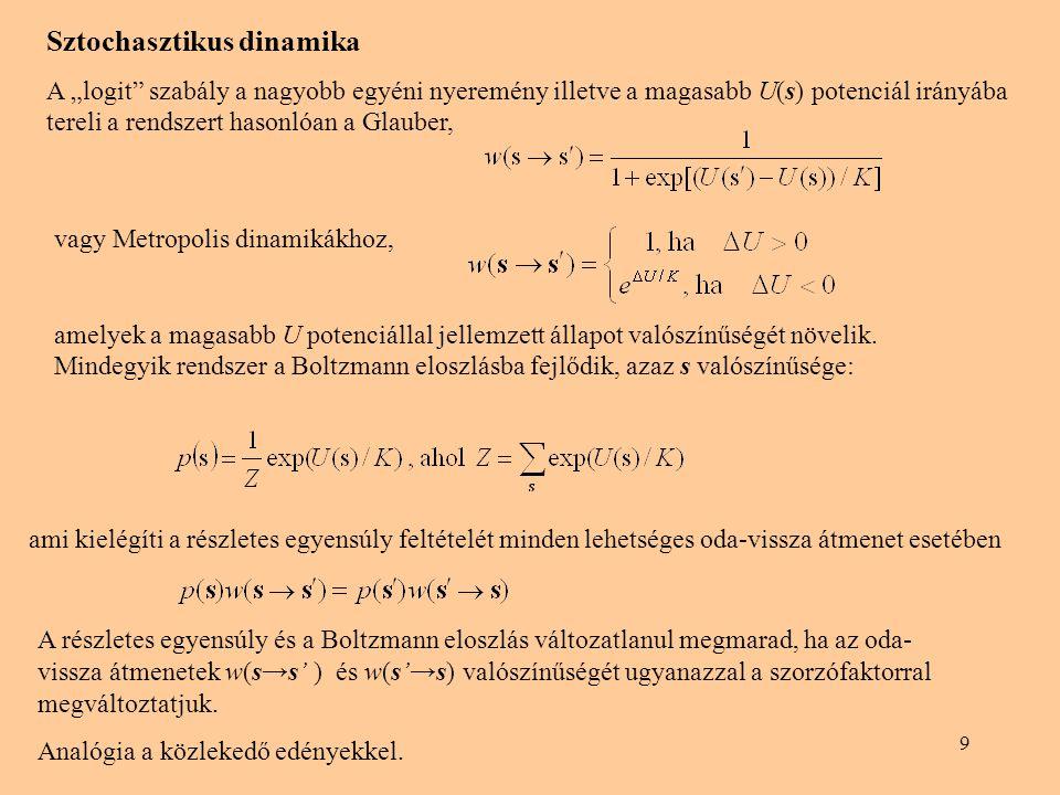 """9 ami kielégíti a részletes egyensúly feltételét minden lehetséges oda-vissza átmenet esetében Sztochasztikus dinamika A """"logit"""" szabály a nagyobb egy"""