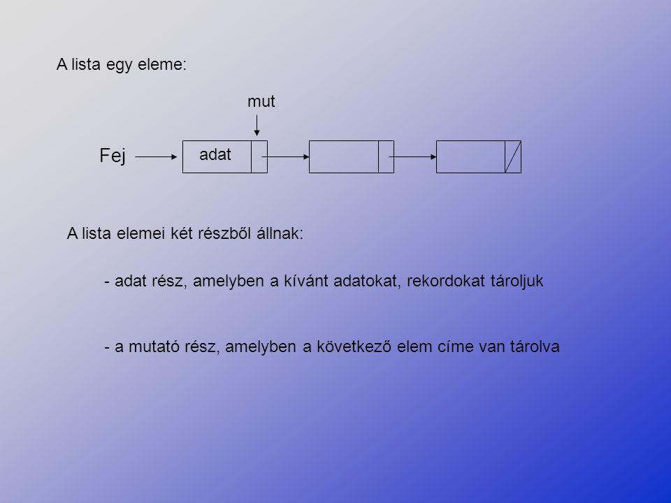 A lista egy eleme: Fej adat mut A lista elemei két részből állnak: - adat rész, amelyben a kívánt adatokat, rekordokat tároljuk - a mutató rész, amely