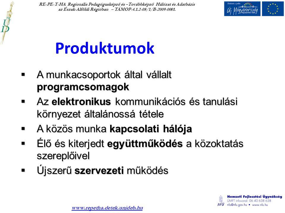 Produktumok RE-PE-T-HA Regionális Pedagógusképző és –Továbbképző Hálózat és Adatbázis az Észak-Alföldi Régióban – TÁMOP-4.1.2-08/1/B-2009-0001.