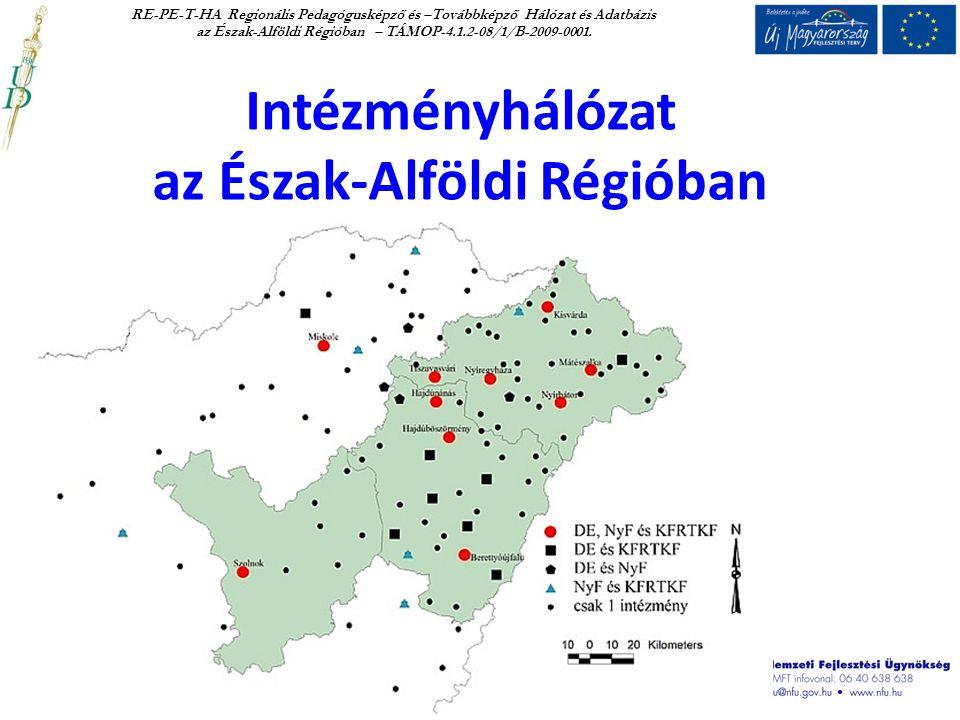Intézményhálózat az Észak-Alföldi Régióban RE-PE-T-HA Regionális Pedagógusképző és –Továbbképző Hálózat és Adatbázis az Észak-Alföldi Régióban – TÁMOP-4.1.2-08/1/B-2009-0001.