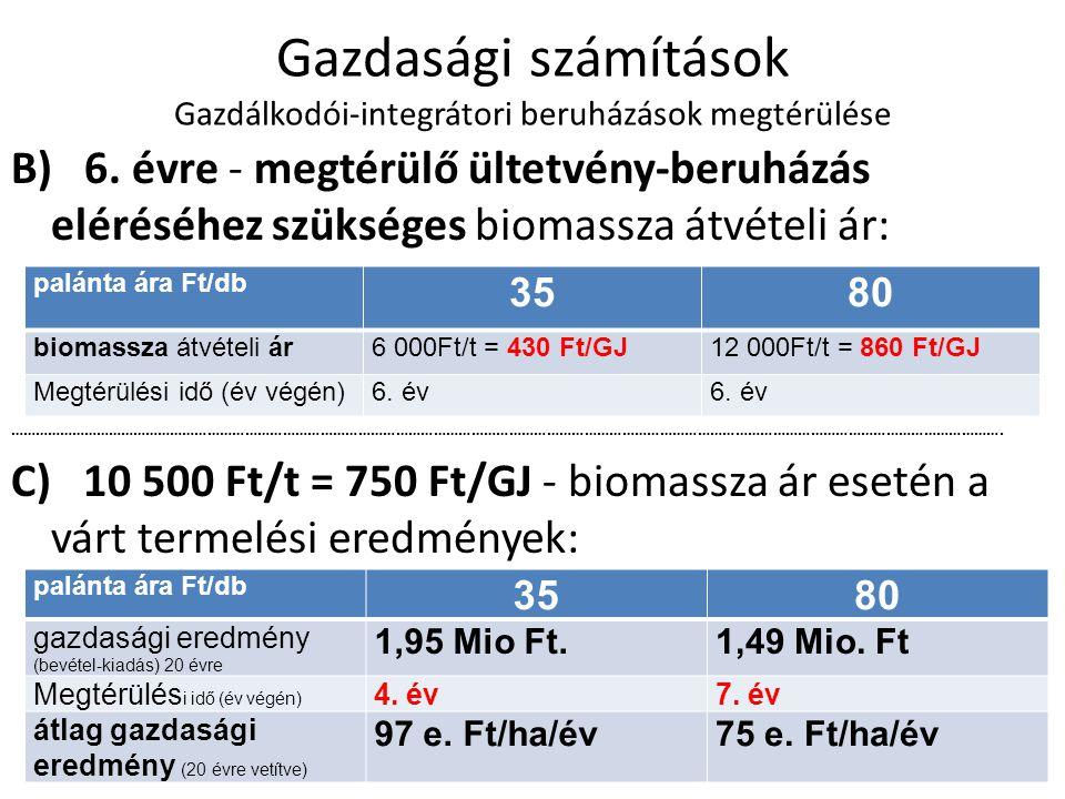 Gazdasági számítások Gazdálkodói-integrátori beruházások megtérülése B) 6.