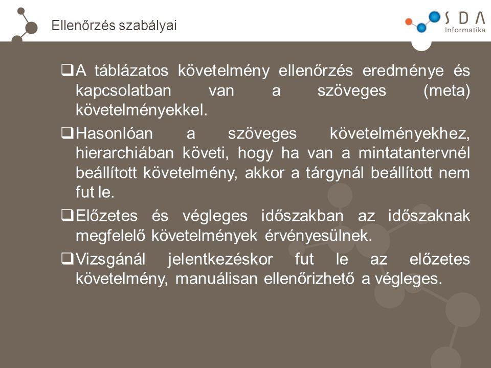 Ellenőrzés szabályai  A táblázatos követelmény ellenőrzés eredménye és kapcsolatban van a szöveges (meta) követelményekkel.