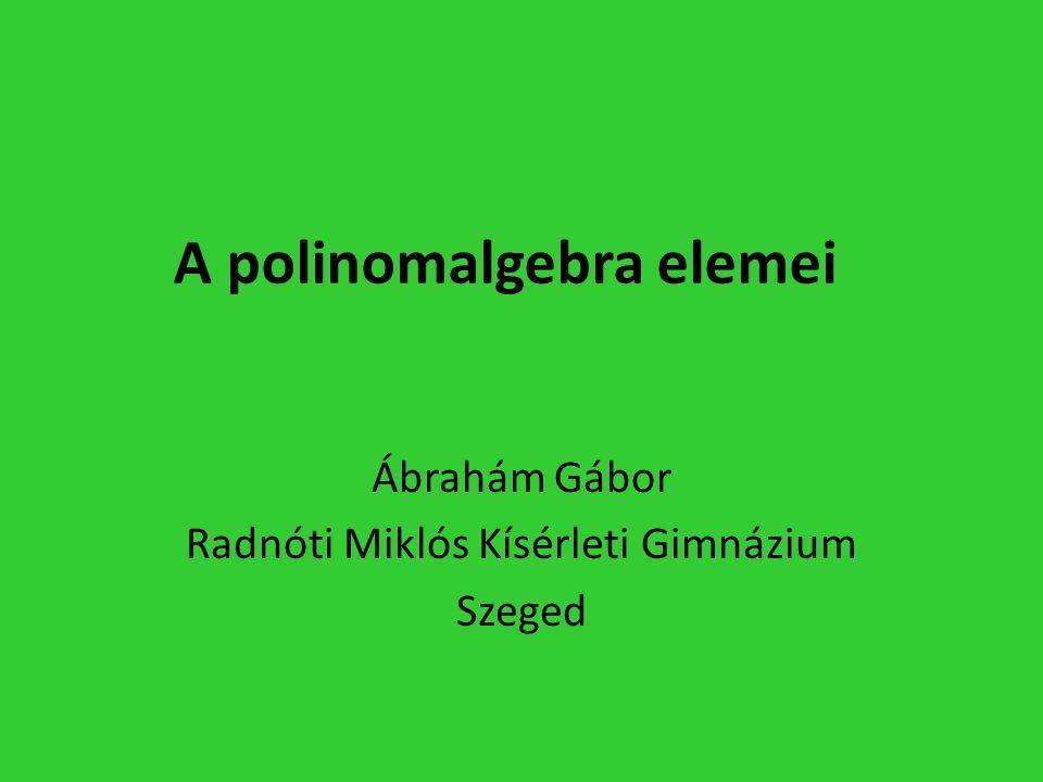 A polinomalgebra elemei Ábrahám Gábor Radnóti Miklós Kísérleti Gimnázium Szeged