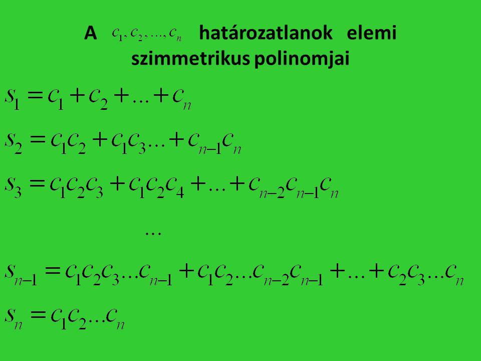 A határozatlanok elemi szimmetrikus polinomjai