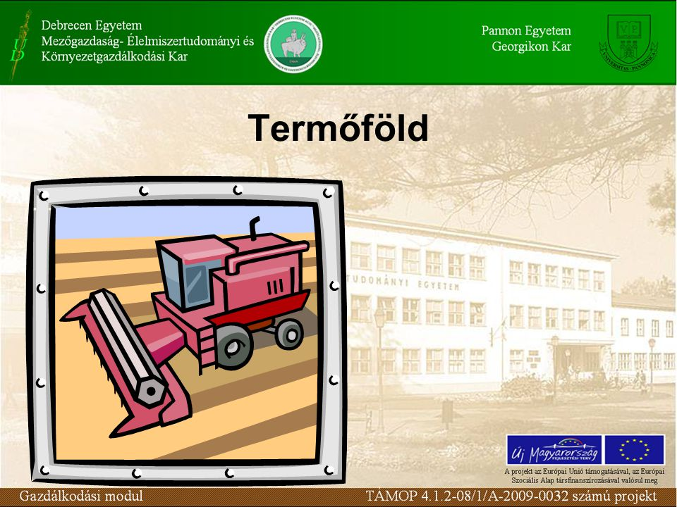 Földterület megoszlása művelési ágak szerint (2008) MegnevezésEzer hektár%-os megoszlás Szántó4 50348,4 Kert961,0 Gyümölcsös991,1 Szőlő830,9 Gyep1 01010,9 Mezőgazdasági terület 5 79162,2 Erdő1 88320,2 Nádas, halastó941,0 Termőterület7 76883,5 Művelés alól kivont terület1 53516,5 Összesen9 303100,0