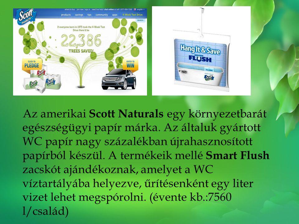 Az amerikai Scott Naturals egy környezetbarát egészségügyi papír márka. Az általuk gyártott WC papír nagy százalékban újrahasznosított papírból készül