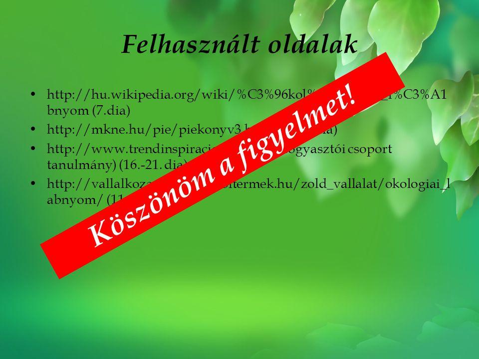 Felhasznált oldalak •http://hu.wikipedia.org/wiki/%C3%96kol%C3%B3giai_l%C3%A1 bnyom (7.dia) •http://mkne.hu/pie/piekonyv3.htm#d (15. dia) •http://www.