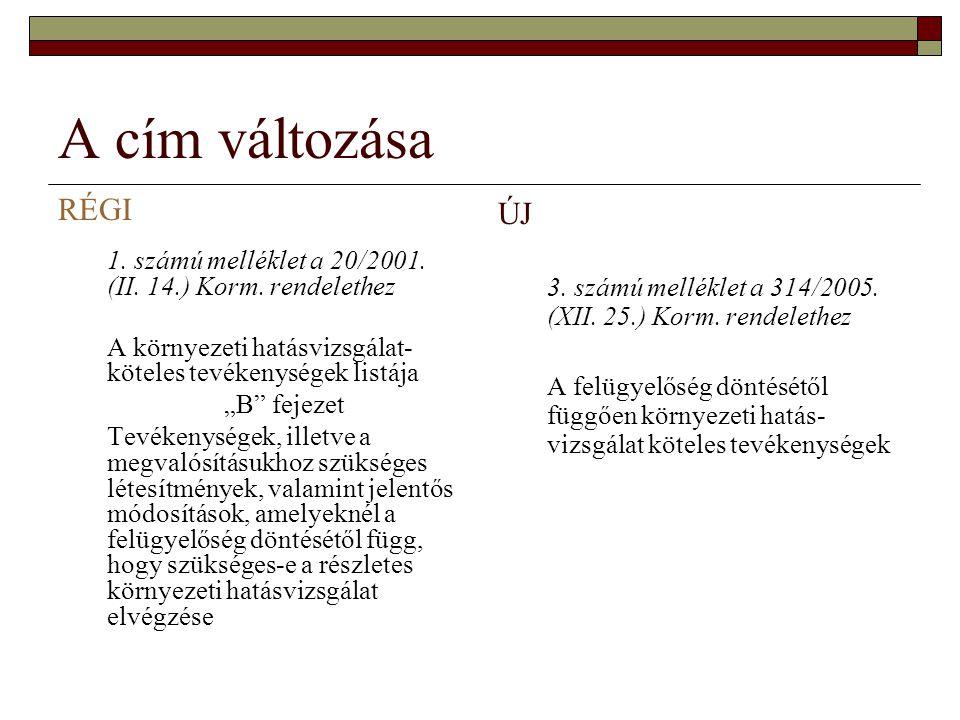 """A cím változása RÉGI 1. számú melléklet a 20/2001. (II. 14.) Korm. rendelethez A környezeti hatásvizsgálat- köteles tevékenységek listája """"B"""" fejezet"""