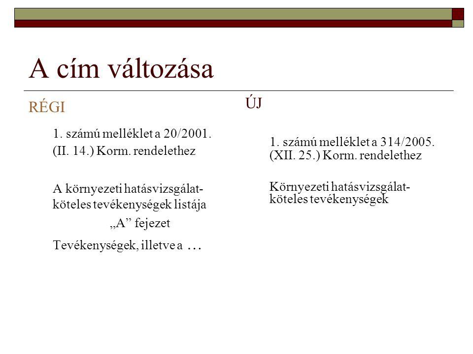"""A cím változása RÉGI 1. számú melléklet a 20/2001. (II. 14.) Korm. rendelethez A környezeti hatásvizsgálat- köteles tevékenységek listája """"A"""" fejezet"""