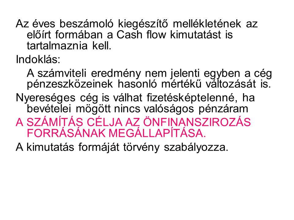Pénzforrás és felhasználás Cash- flow Vízszintes tagozódású •Pénzforrást keletkeztető tételek •Pénzfelhasználást jelentő tételek A különbőzet adja a pénztöbbletet vagy a pénzhiányt