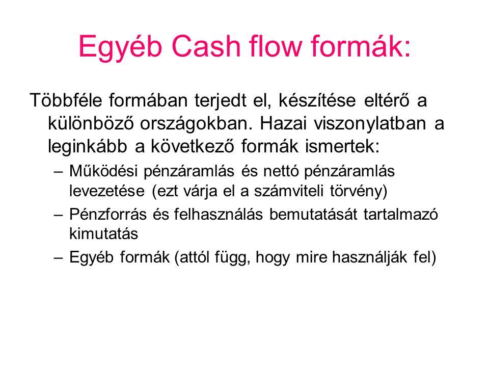 Egyéb Cash flow formák: Többféle formában terjedt el, készítése eltérő a különböző országokban. Hazai viszonylatban a leginkább a következő formák ism