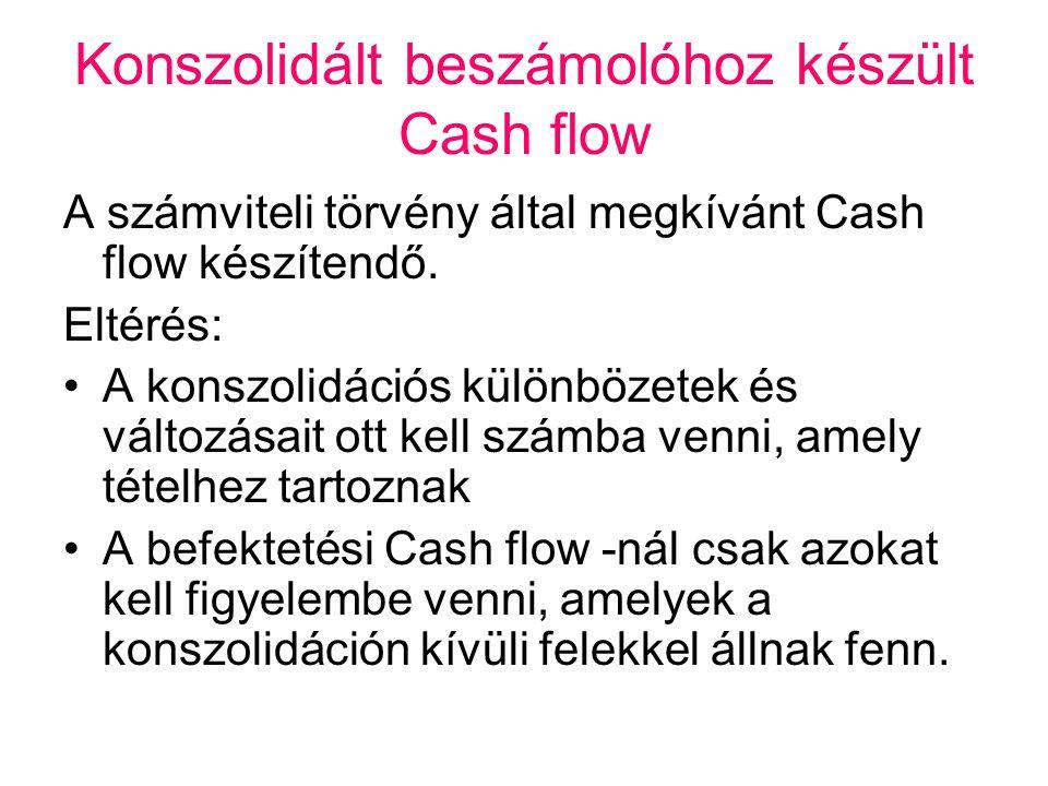 Konszolidált beszámolóhoz készült Cash flow A számviteli törvény által megkívánt Cash flow készítendő. Eltérés: •A konszolidációs különbözetek és vált