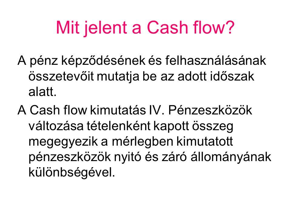 Mit jelent a Cash flow? A pénz képződésének és felhasználásának összetevőit mutatja be az adott időszak alatt. A Cash flow kimutatás IV. Pénzeszközök