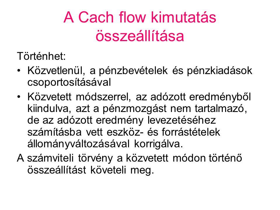 A Cach flow kimutatás összeállítása Történhet: •Közvetlenül, a pénzbevételek és pénzkiadások csoportosításával •Közvetett módszerrel, az adózott eredm