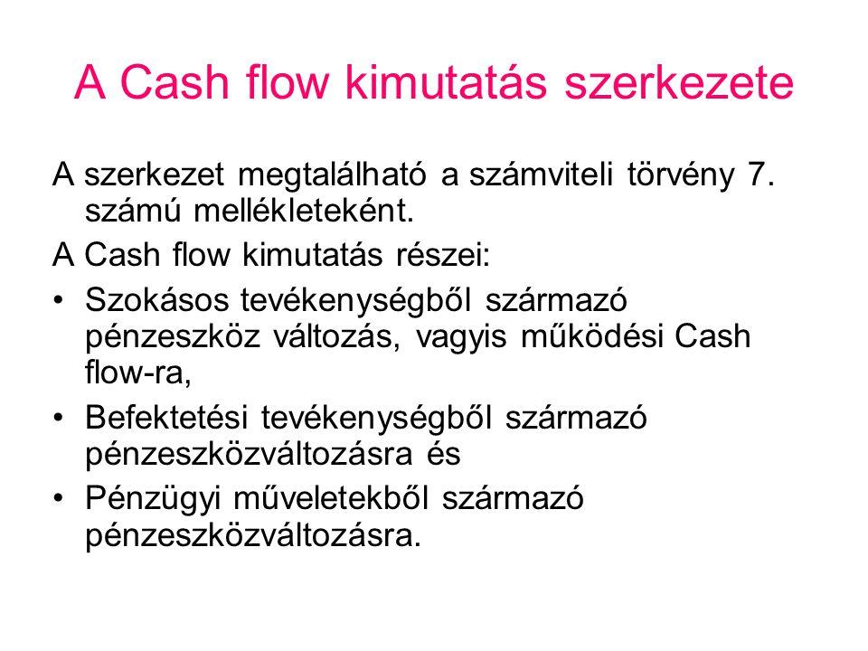 A Cash flow kimutatás szerkezete A szerkezet megtalálható a számviteli törvény 7. számú mellékleteként. A Cash flow kimutatás részei: •Szokásos tevéke