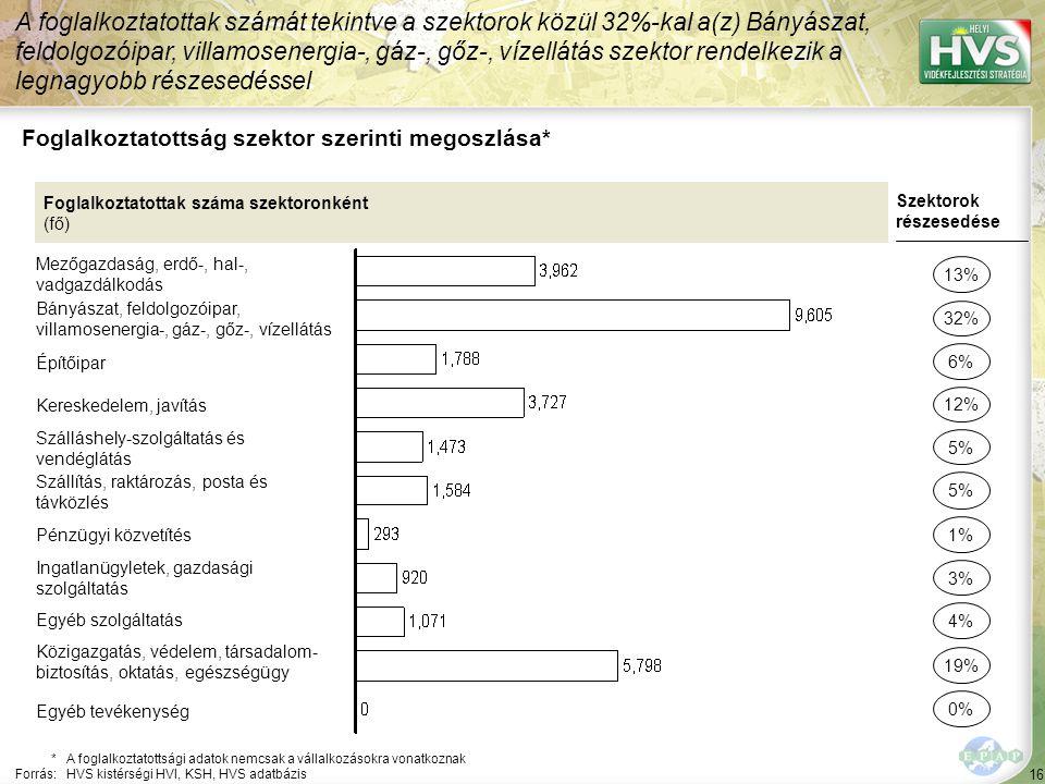 16 Foglalkoztatottság szektor szerinti megoszlása* A foglalkoztatottak számát tekintve a szektorok közül 32%-kal a(z) Bányászat, feldolgozóipar, villamosenergia-, gáz-, gőz-, vízellátás szektor rendelkezik a legnagyobb részesedéssel *A foglalkoztatottsági adatok nemcsak a vállalkozásokra vonatkoznak Forrás:HVS kistérségi HVI, KSH, HVS adatbázis Foglalkoztatottak száma szektoronként (fő) Mezőgazdaság, erdő-, hal-, vadgazdálkodás Bányászat, feldolgozóipar, villamosenergia-, gáz-, gőz-, vízellátás Építőipar Kereskedelem, javítás Szálláshely-szolgáltatás és vendéglátás Szállítás, raktározás, posta és távközlés Pénzügyi közvetítés Ingatlanügyletek, gazdasági szolgáltatás Egyéb szolgáltatás Közigazgatás, védelem, társadalom- biztosítás, oktatás, egészségügy Szektorok részesedése 13% 32% 12% 5% 3% 4% 19% 6% 1% Egyéb tevékenység 0%