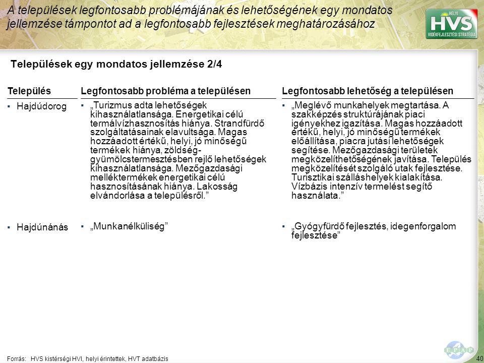 """40 Települések egy mondatos jellemzése 2/4 A települések legfontosabb problémájának és lehetőségének egy mondatos jellemzése támpontot ad a legfontosabb fejlesztések meghatározásához Forrás:HVS kistérségi HVI, helyi érintettek, HVT adatbázis TelepülésLegfontosabb probléma a településen ▪Hajdúdorog ▪""""Turizmus adta lehetőségek kihasználatlansága."""