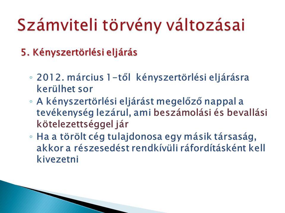 5. Kényszertörlési eljárás ◦ 2012. március 1-től kényszertörlési eljárásra kerülhet sor ◦ A kényszertörlési eljárást megelőző nappal a tevékenység lez