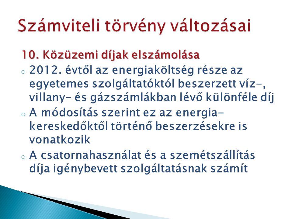 10. Közüzemi díjak elszámolása o 2012. évtől az energiaköltség része az egyetemes szolgáltatóktól beszerzett víz-, villany- és gázszámlákban lévő külö