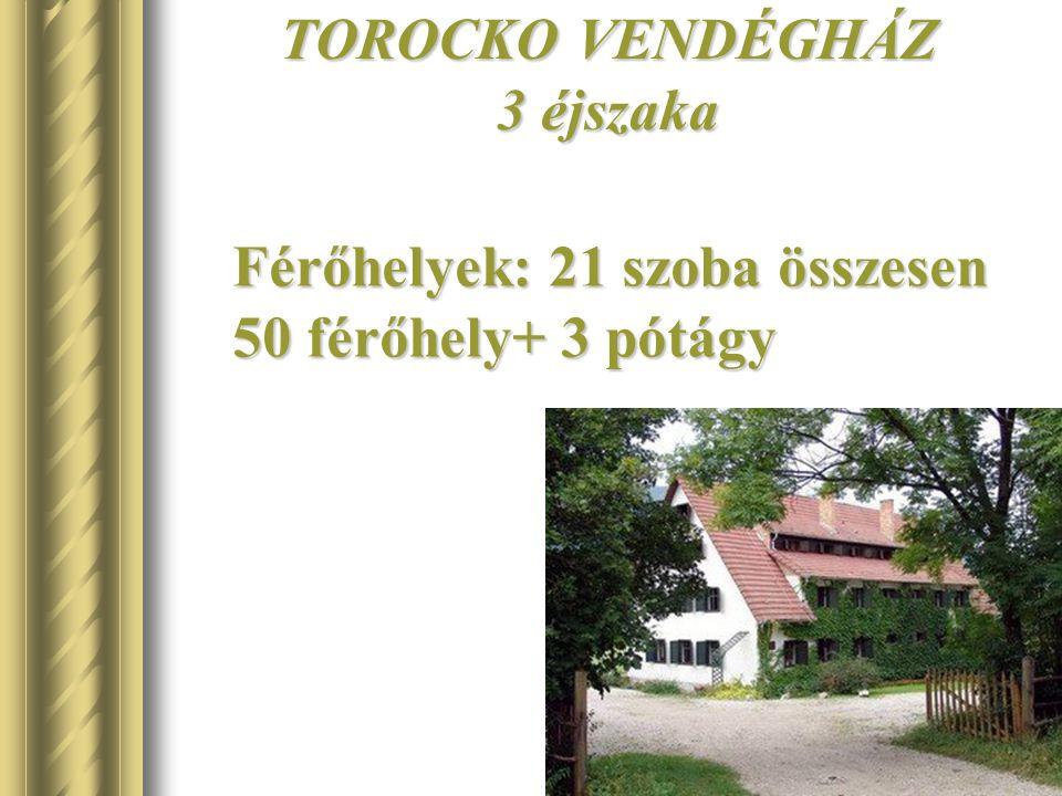 TOROCKO VENDÉGHÁZ 3 éjszaka Férőhelyek: 21 szoba összesen 50 férőhely+ 3 pótágy