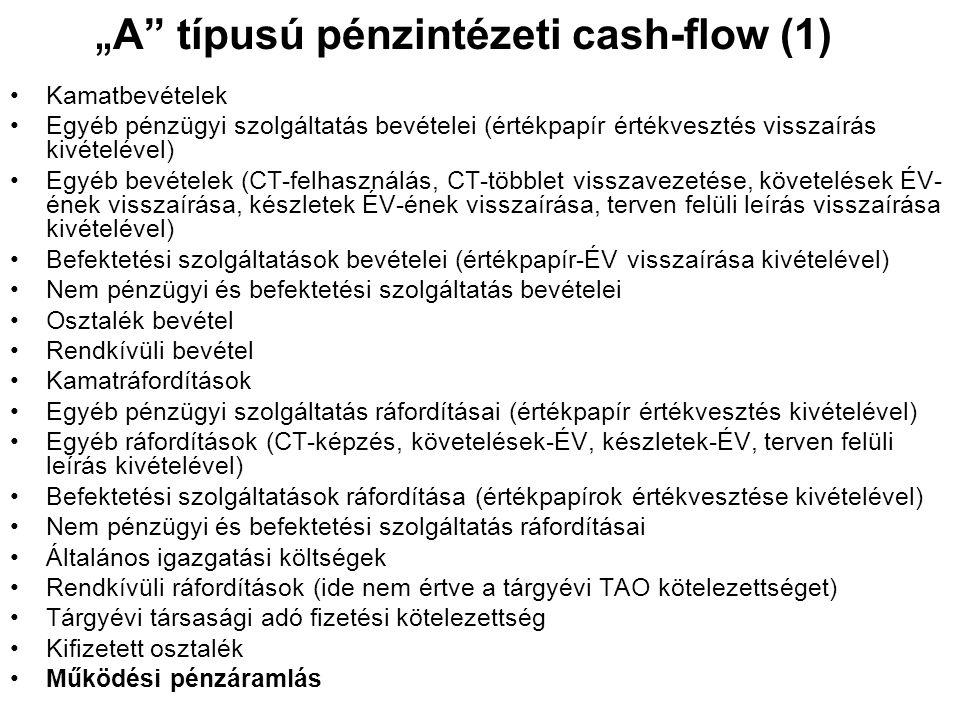 """"""" A"""" típusú pénzintézeti cash-flow (1) •Kamatbevételek •Egyéb pénzügyi szolgáltatás bevételei (értékpapír értékvesztés visszaírás kivételével) •Egyéb"""