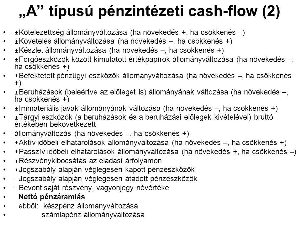 """""""A"""" típusú pénzintézeti cash-flow (2) •  Kötelezettség állományváltozása (ha növekedés +, ha csökkenés –) •  Követelés állományváltozása (ha növeked"""