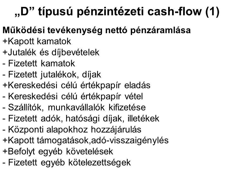 """""""D"""" típusú pénzintézeti cash-flow (1) Működési tevékenység nettó pénzáramlása +Kapott kamatok +Jutalék és díjbevételek - Fizetett kamatok - Fizetett j"""