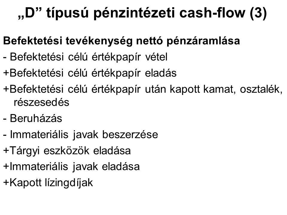 """""""D"""" típusú pénzintézeti cash-flow (3) Befektetési tevékenység nettó pénzáramlása - Befektetési célú értékpapír vétel +Befektetési célú értékpapír elad"""
