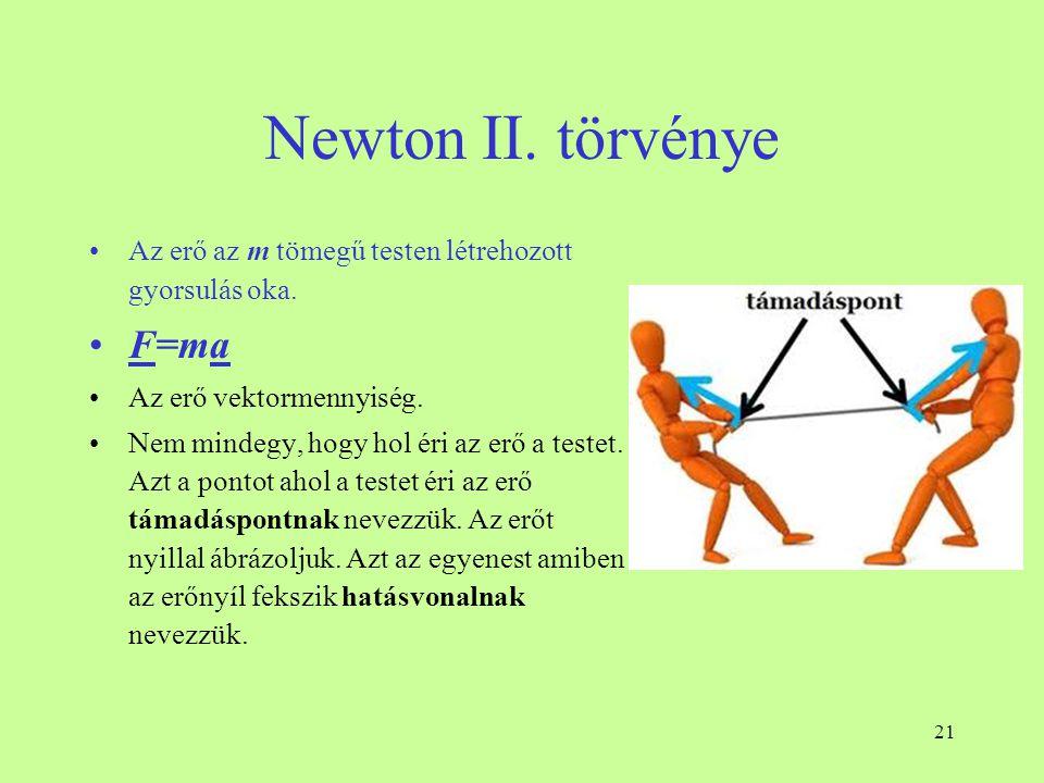21 Newton II. törvénye •Az erő az m tömegű testen létrehozott gyorsulás oka. •F=ma •Az erő vektormennyiség. •Nem mindegy, hogy hol éri az erő a testet