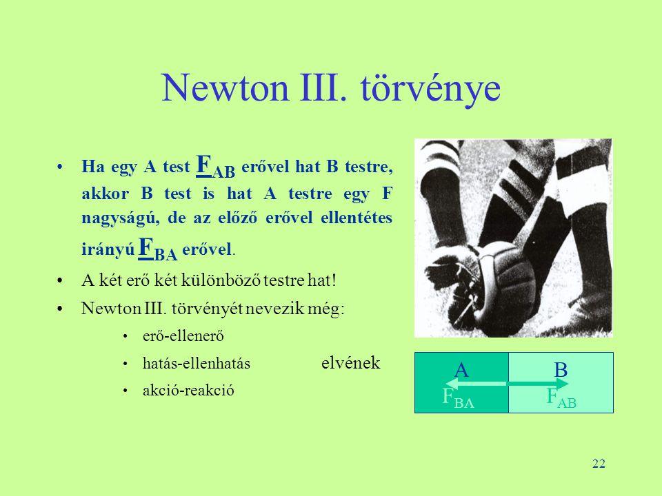 22 Newton III. törvénye •Ha egy A test F AB erővel hat B testre, akkor B test is hat A testre egy F nagyságú, de az előző erővel ellentétes irányú F B