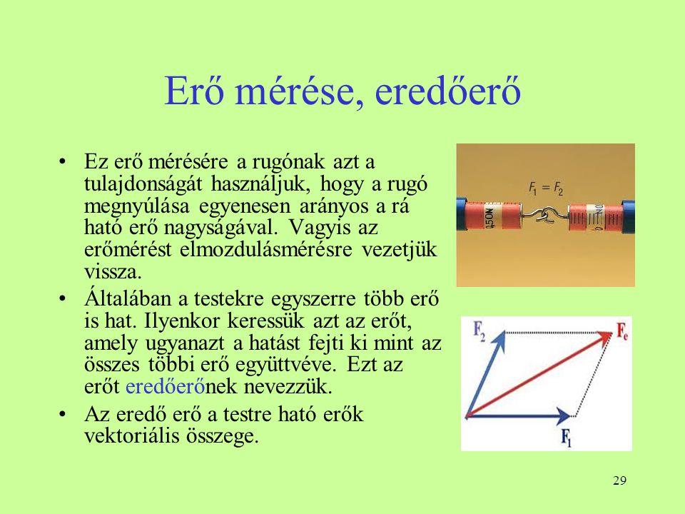 29 Erő mérése, eredőerő •Ez erő mérésére a rugónak azt a tulajdonságát használjuk, hogy a rugó megnyúlása egyenesen arányos a rá ható erő nagyságával.