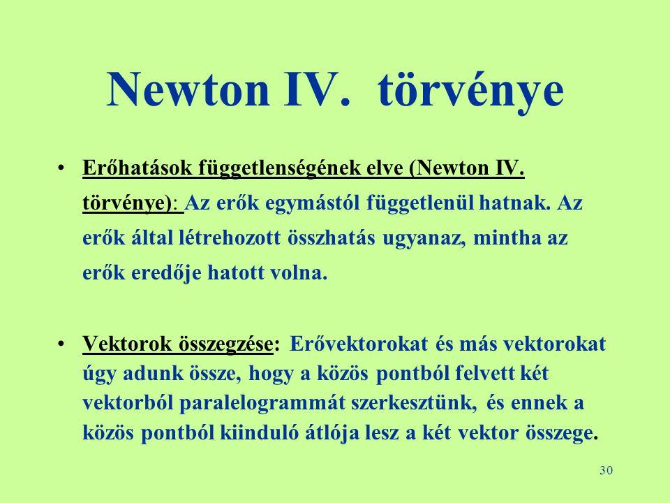 30 Newton IV. törvénye •Erőhatások függetlenségének elve (Newton IV. törvénye): Az erők egymástól függetlenül hatnak. Az erők által létrehozott összha