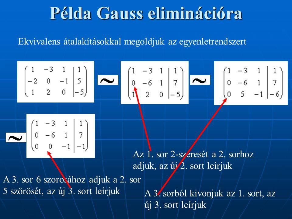 Példa Gauss eliminációra Ekvivalens átalakításokkal megoldjuk az egyenletrendszert Az 1. sor 2-szeresét a 2. sorhoz adjuk, az új 2. sort leírjuk A 3.