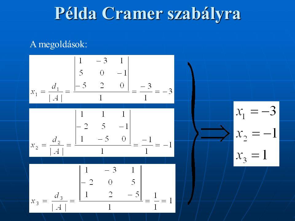 Példa Cramer szabályra A megoldások:
