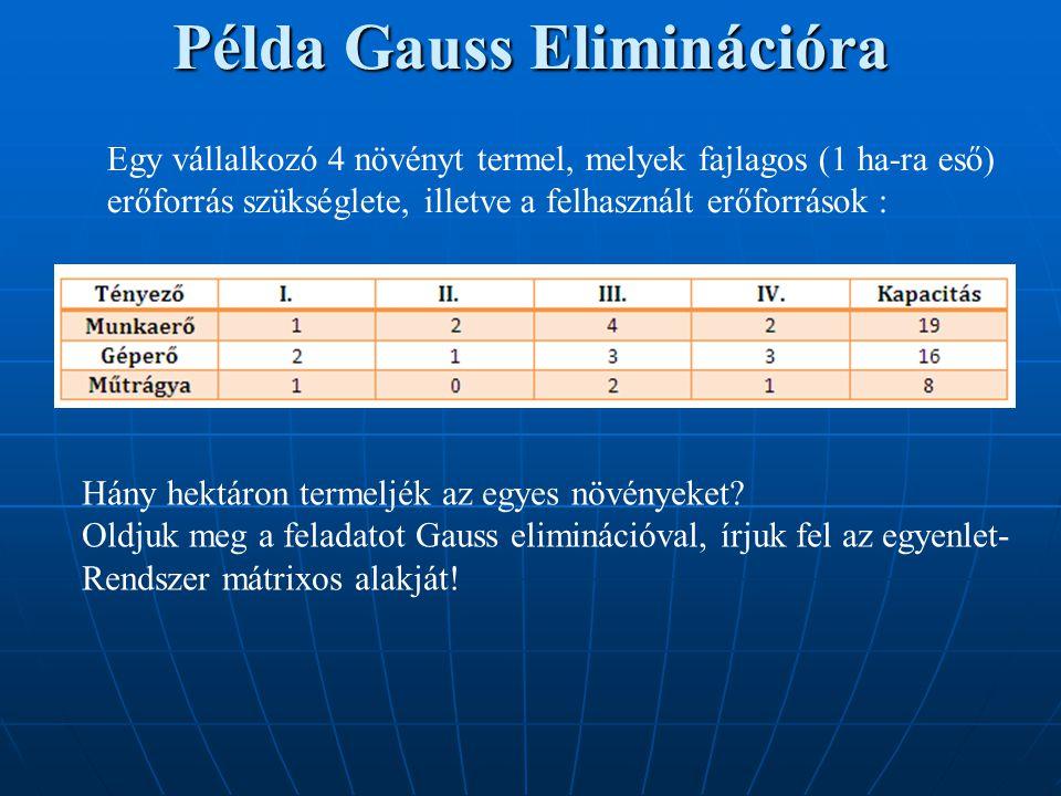 Példa Gauss Eliminációra Egy vállalkozó 4 növényt termel, melyek fajlagos (1 ha-ra eső) erőforrás szükséglete, illetve a felhasznált erőforrások : Hán